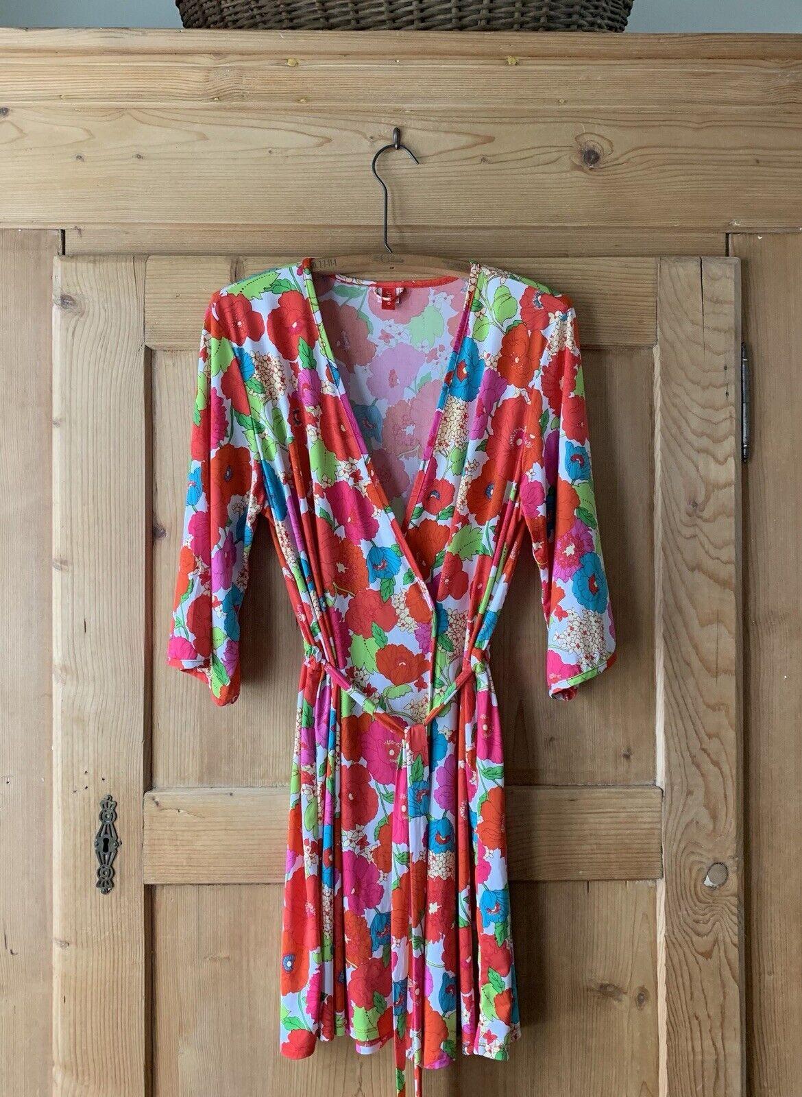 Josie Natori  Multicolor Floral Robe Belt Soft Wrap  Sz M EUC