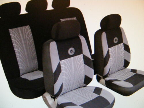 NISSEN PEUGEOT Universal Car Seat Covers Full Set Grey//Black Velour Fabric 14402