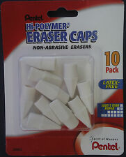 Pentel Hi Polymer Eraser Pencil Caps Non Abrasive Erasers 10ctpack Latex Free
