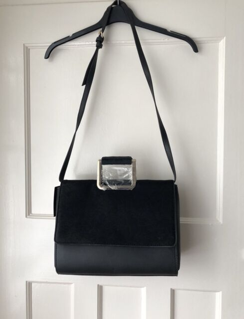 b10dae330e Zara Black City Bag With Faux Fur Flap Metal Handles for sale online ...