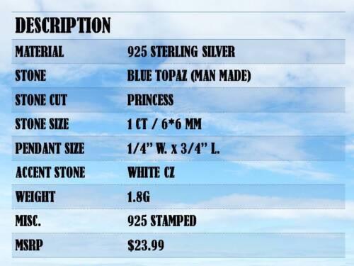 STYLISH 1 CT BLUE TOPAZ 925 STERLING SILVER PENDANT