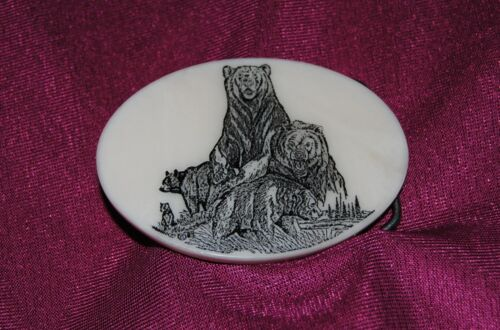 Bear Family Etched Cultured Marble Western Belt Buckle