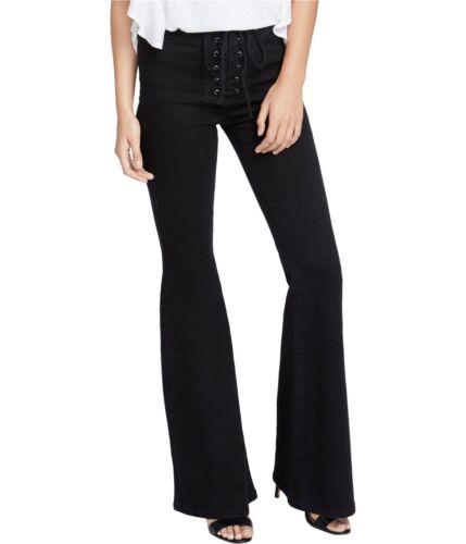 Rachel Roy Womens Lace-Up Flared Jeans