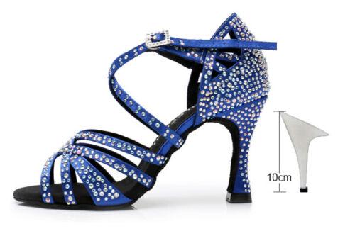 Latin dance shoes big small rhinestone bright Red blue satin Women Salsa dance