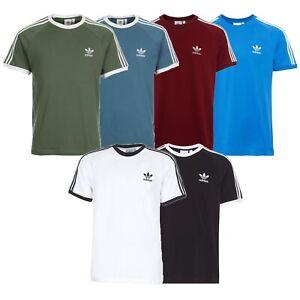 Ondas Sofocante Anémona de mar  Hombre adidas Originals Adi Camiseta California Algodón Redondo 3 Rayas  Retro | eBay