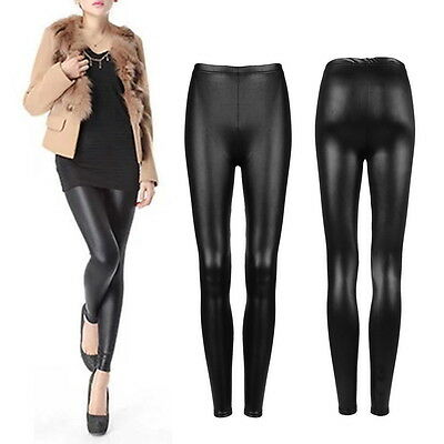 Sexy Women Faux PU Leather Skinny Pencil Pants Tights Trousers SL
