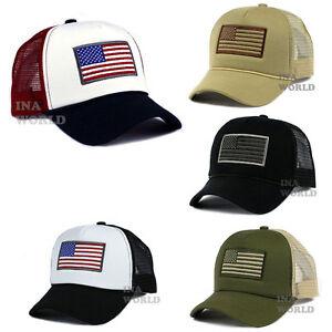 USA-American-Flag-Hat-Foam-Cap-Mesh-Trucker-Snapback-Curved-Bill-Baseball-Cap