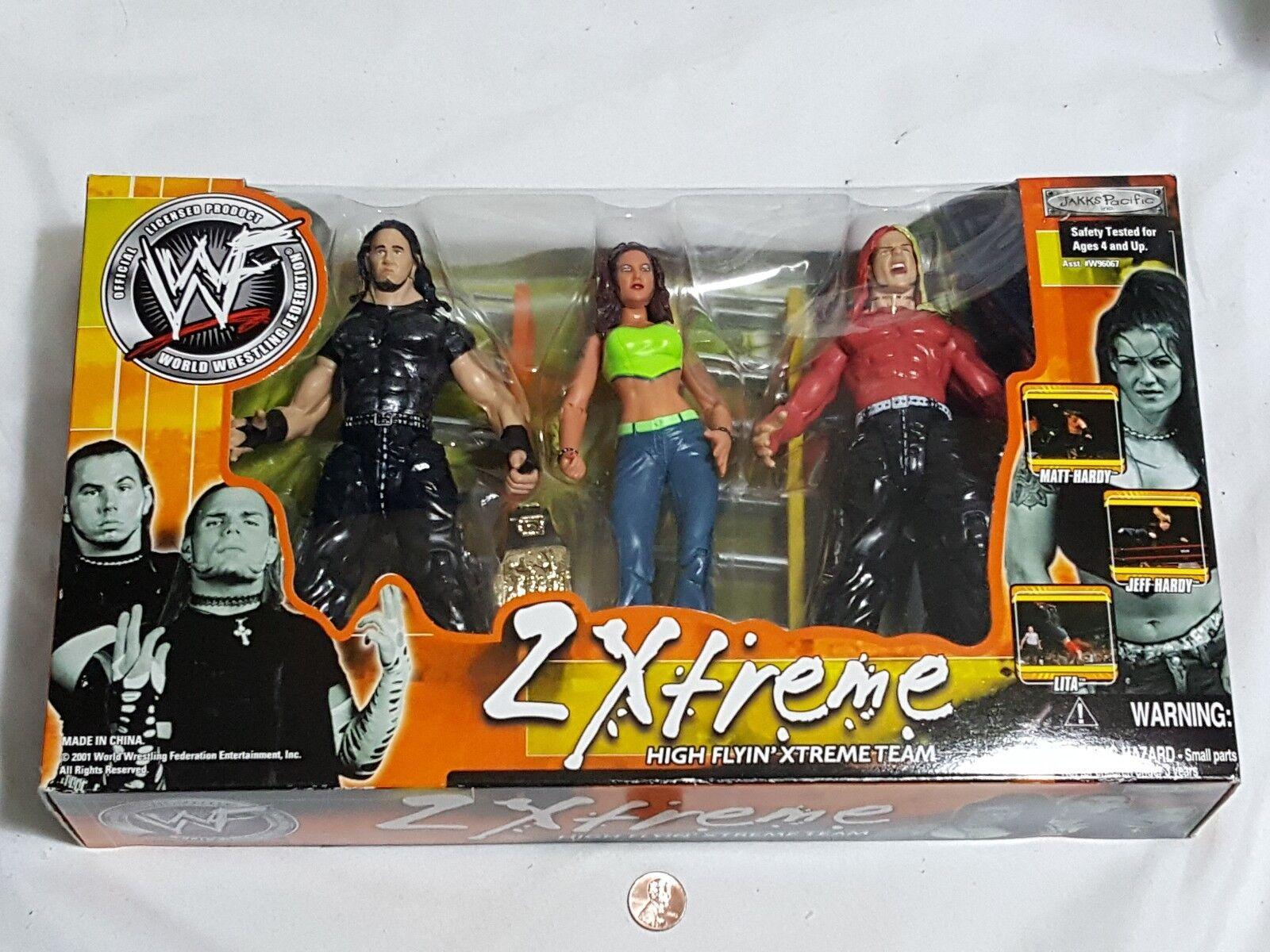 Nuevo WWF 2 Xtreme alta Flyin 'Xtreme equipo figuras Matt Jeff Hardy Lita Extreme