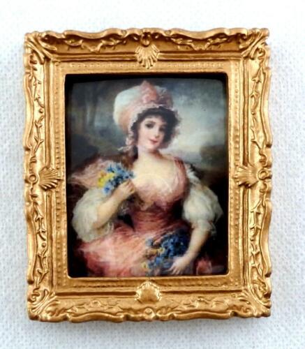 Melody Jane Puppenhaus Miniatur Zubehör Lady IN Rosa Gemälde Goldrahmen