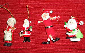 3-plastic-or-resin-Santa-039-s-1-Mrs-Claus-Christmas-Ornaments
