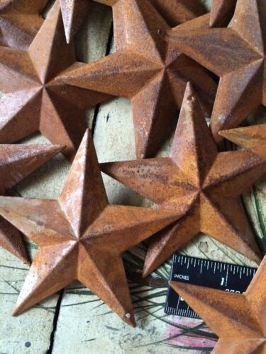 "10 Rusty Barn Stars 3.75 in 3 3//4/"" Dimensional 2D w// hole Craft Supply Country"