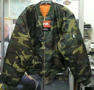 FOX OUTDOOR MEN'S MA-1 FLIGHT JACKET COAT WOODLAND BDU CAMO ...