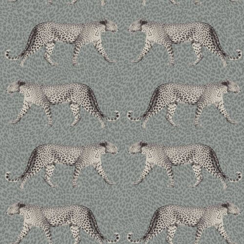 SILVER WALLPAPER M1495 GLITTER HIGHLIGHTS CROWN GLAMOROUS LEOPARD CHARCOAL