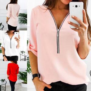 Women-Zipper-Short-Sleeve-V-Neck-Loose-Blouse-Chiffon-Tops-T-Shirt-Casual