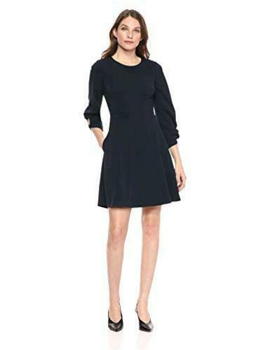 Size 8.0 Navy Lark /& Ro Women/'s Gathered 3//4 Sleeve Crew Neck Fit and Flare