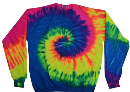 Tie Dye Multi-Color Crew Neck Fleece Adult Small to 3XL 80/% Cotton Long Sleeve