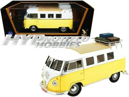 ROAD SIGNATURE 1:18 1962 VOLKSWAGEN BUS WITH ROOF RACK DIE-CAST YELLOW 92328A
