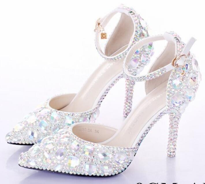 Wedding Ladies crystal pointed toe stiletto high high high heel Vogue pumps Womens shoes @ e5db67