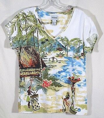 Chicos 1 Knit Top Gold Blue Green Palm Trees V Neck Short Sleeves