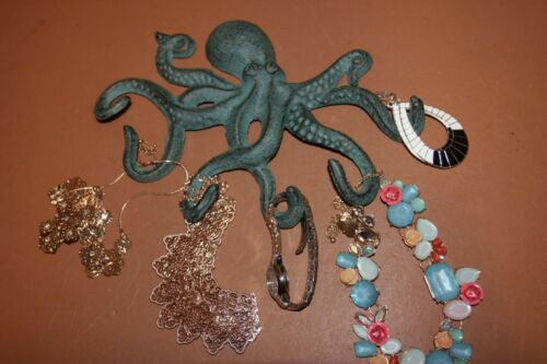 Octopus Jewelry Wall Hook N-46 Nautical Antiqued Bronze Look Cast Iron 1