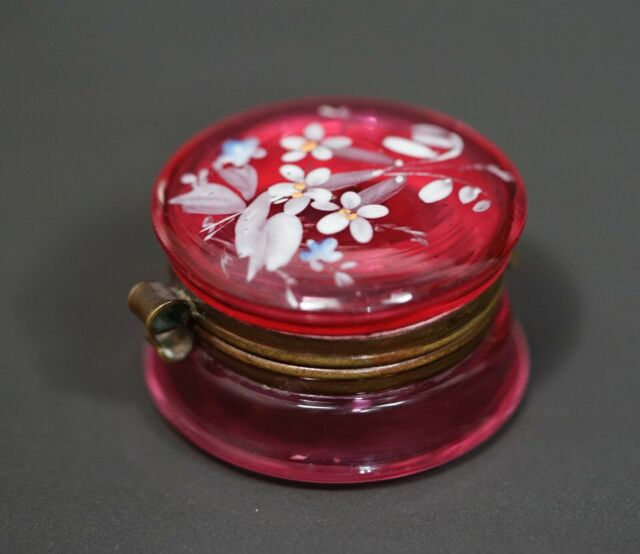 Victorian Moser Glass Enamel Floral Painted Cranberry Red Casket Round Pill Box