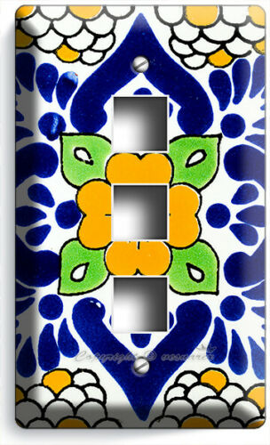 MEXICAN YELLOW TALAVERA TILE LOOK LIGHT SWITCH OUTLET PLATES KITCHEN FOLK DECOR