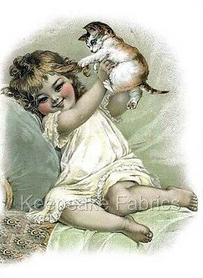 Victorian Sepia Girl Kitten Quilt Block Multi Size FrEE ShiPPinG WoRld WiDE