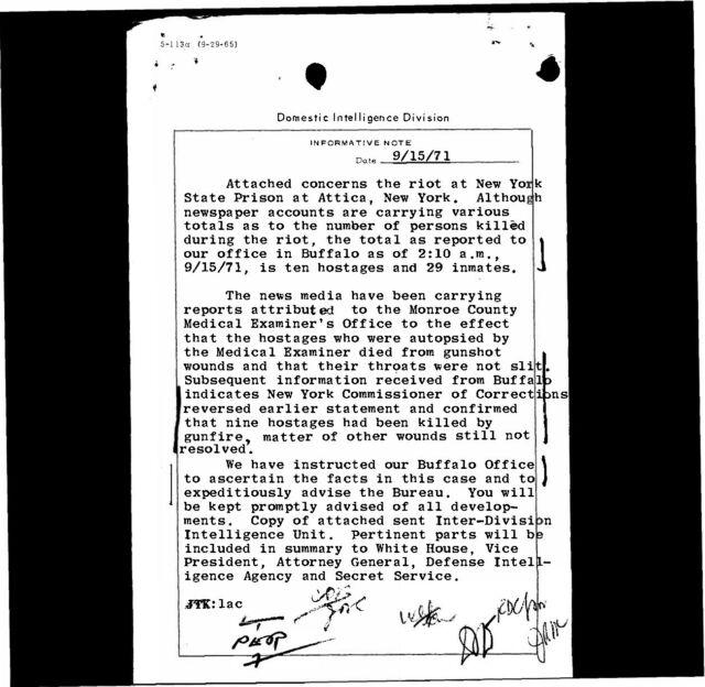 Attica Prison Riot Documents Audio /& Film Photogs Court /& Hearings Files FBI