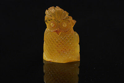Hand Carved Genuine BALTIC AMBER - FUNNY BIRD Statuette Figurine f130713-7