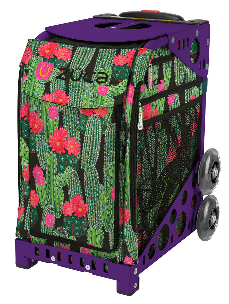 ZUCA Bag DESERT BLOSSOM Insert & Purple Frame w Flashing Wheels - FREE CUSHION