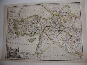 ANTIQUE C1810 GIRALDON MAP OF TURKEY SYRIA MED HAND COLOUR COPPER ETCHING 1556