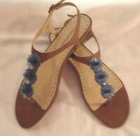 Adrienne Vittadini Tigger Flat Brown Leather Blue Accents Wedge Sandals 9.5 M