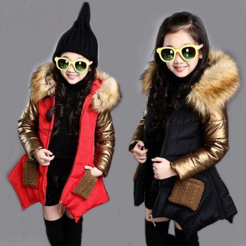 Girls Kids Splice Parka Winter Cotton Padded Long Jacket Fur Hooded Coat Outwear