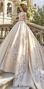 New Medieval Country Satin Lace Wedding Dress High Neck Pop Bridal ...