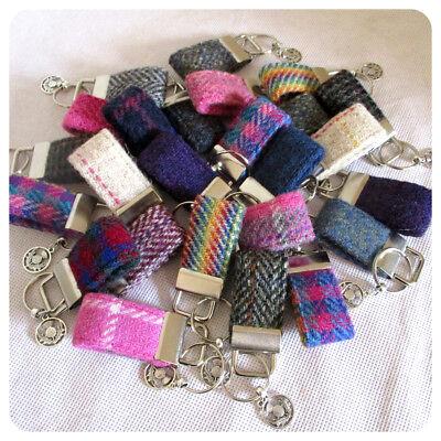 Tweed fabric Key Fob handmade from genuine Harris Tweed in various colours