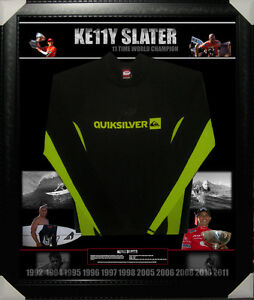 KELLY-SLATER-11-TIMES-SURFING-SIGNED-amp-FRAMED-BOARD-RASH-VEST-PSA-DNA-Y39392