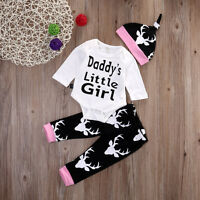 3PCS Set Newborn Baby Girls Tops Romper +Long Pants Hat Outfits Clothes 0-18M