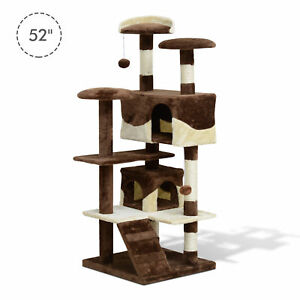 """52"""" Cat Scratching Tree Large Kitten Play House  Activity Center Pet Furniture"""