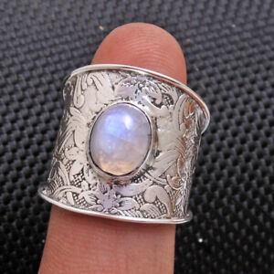 Oval-Moonstone-Gemstone-cab-925-sterling-silver-solid-Unisex-Ring-All-Size-us