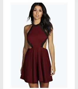 1901c12b5a5 NWT Boohoo Night Eva Contrast Cut Out Skater Dress Berry Maroon US ...