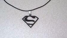 Superman Superhero Stainless Steel Necklace Jewelry Pendant Leather Cord Unisex