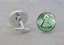Pyramid All Seeing Eye Illuminati .925 Sterling Silver Cuff Links
