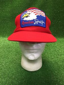 0c45f9b1d99 Vintage American Spirit USA Bald Eagle Red SnapBack Trucker Hat Cap ...