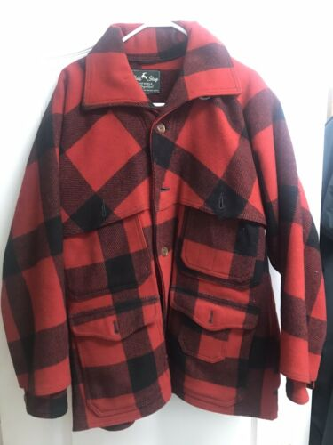 Vtg White Stag Plaid Virgin Wool Jacket 1950's Red