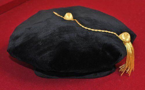 """Doctoral Tam Black velvet 8-sided w//Gold Bullion Tassel L-XL Fr 23.6-25/"""" New"""