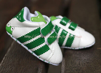 Infant Baby Boy Girl Soft Sole Crib Shoes Frog Sneaker Size Newborn to 18 Months