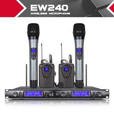 2 Hand held 2 headset lavalier Lapel Microphone EW240 UHF Cordless Mic System