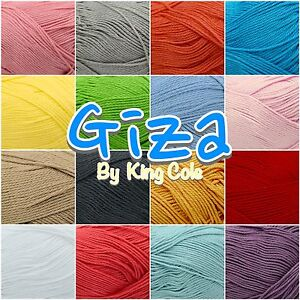 King-Cole-Giza-100-Egyptian-Mercerised-Cotton-4-Ply-Knitting-Crochet-50g-Ball