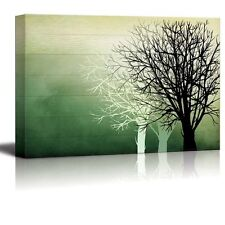 Wall26 - Silhouette Trees Over Green Watercolor Wood Panels - Canvas Art - 24x36