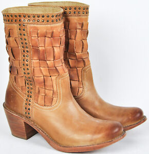 Frye-Womens-Carmen-Woven-Sand-Tan-Leather-Short-Boots-7-5-7-amp-1-2-76245-Studded